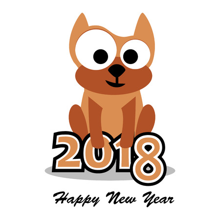 Vector illustration of dog, 2018 new year card, Year of the dog.