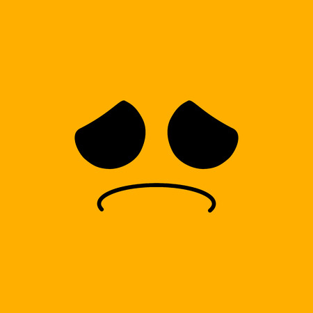 Yellow emoticon face, sad, vector illustration Ilustração