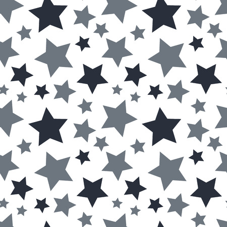 Star seamless pattern. White and grey retro background. Chaotic elements. Abstract geometric shape texture. Effect of sky. Design template for wallpaper, wrapping, textile.