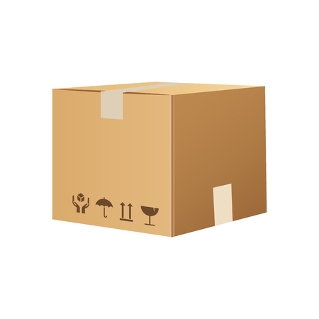 Cardboard box isolated on white. Carton box Vector flat cartoon illustration Çizim
