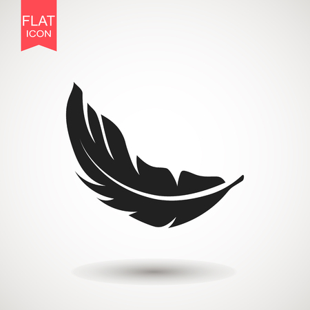 Feather icon vector illustration. Silhouette icon.  Flat vector illustration for web site or mobile app.