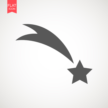 Falling star vector . Shooting star isolated from background . Icon of meteorite or comet with tail