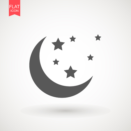 Moon and stars icon. Flat vector illustration on white background.