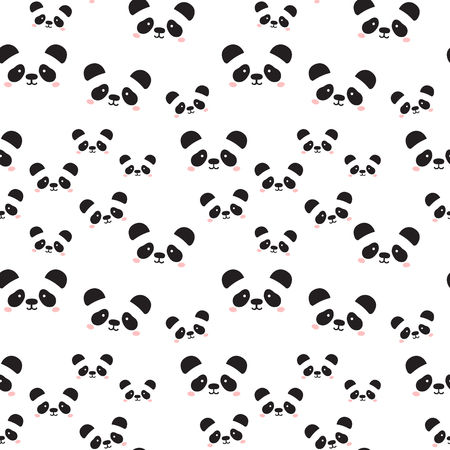 Cute Panda Face Seamless Wallpaper Seamless Pattern Of Cartoon