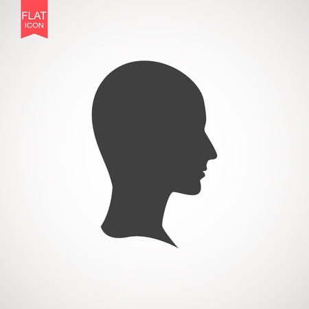 Human head silhouette. It can be used as part of various graphic compositions, or in itself.