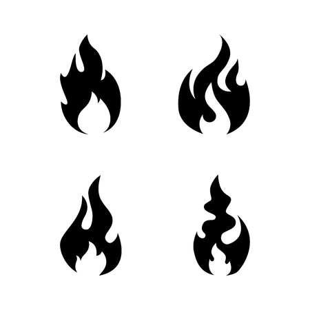 Fire flame icon set. Black icon isolated on white background. Fire flame silhouette. Simple icon. Web site page and mobile app design vector element.