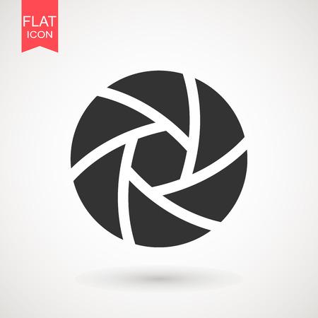 Camera Lens icon flat. Camera objective icon symbol . Shutter icon