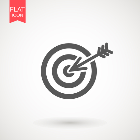target icon. dart board. archery board. dartboard vector icon. Grey aim, arrow, Idea concept, perfect hit, winner, target goal icon. Success abstract pin logo