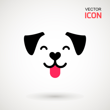 Dog head icon. Flat style. Cartoon dog face. Vector illustration isolated on white. Silhouette simple. Animal Logotype concept. Logo design template. Фото со стока - 104393590