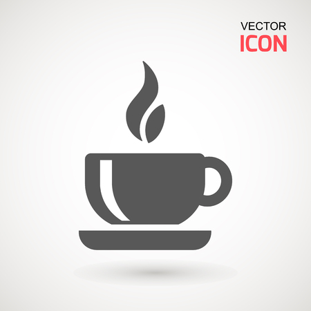 Coffee cup icon, Simple vector coffee icon. Vector illustration isolated on white. Silhouette simple. Logotype concept. Logo design template Logo