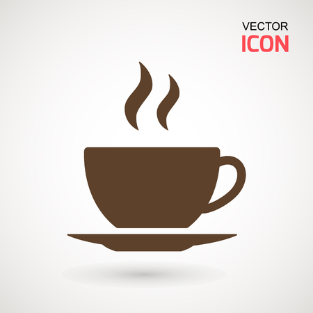 Coffee cup icon, Simple vector coffee icon. Vector illustration isolated on white. Silhouette simple. Logotype concept. Logo design template