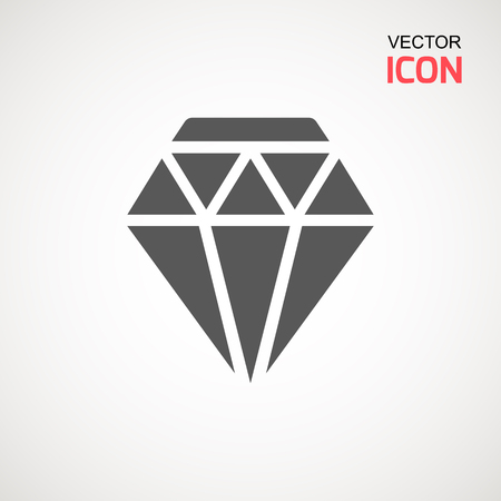 Diamond Icon Vector. Diamond sign icon. Jewelry symbol. Gem stone. Graphic element. Simple flat symbol. Perfect Black pictogram illustration on white background.