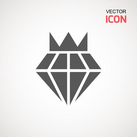 Diamond Icon Vector. Diamond sign icon. Jewelry symbol. Gem stone. Graphic element. Silhouette simple. Logotype concept. Logo design template. Simple flat symbol. Perfect Gray pictogram illustration on white background Illustration