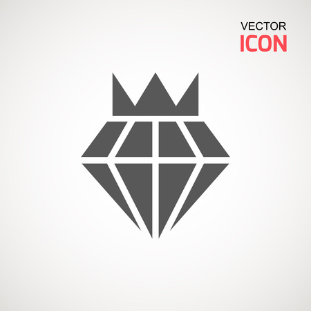 Diamond Icon Vector. Diamond sign icon. Jewelry symbol. Gem stone. Graphic element. Silhouette simple. Logotype concept. Logo design template. Simple flat symbol. Perfect Gray pictogram illustration on white background Çizim