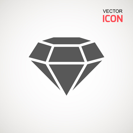 Diamond Icon Vector. Diamond sign icon. Jewelry symbol. Gem stone. Graphic element. Silhouette simple. Logotype concept. Logo design template. Simple flat symbol. Perfect Gray pictogram illustration on white background Illusztráció