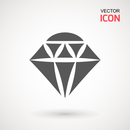 Diamond Icon Vector. Diamond sign icon. Jewelry symbol. Gem stone. Graphic element. Silhouette simple. Logotype concept. Logo design template. Simple flat symbol. on white background
