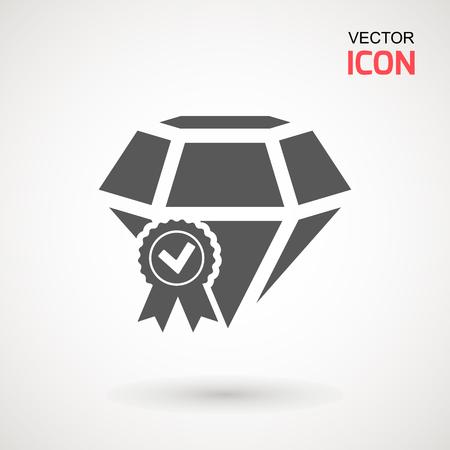 Certified Diamond Icon Vector. Diamond sign icon. Jewelry symbol. Gem stone. Graphic element. Silhouette simple. Logotype concept. Logo design template