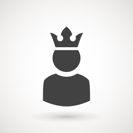 King User Icon Logo Design Element. Admin icon. Administrator. Crowned king sign. Manager symbol. Power user icon. Ceo. Illustration