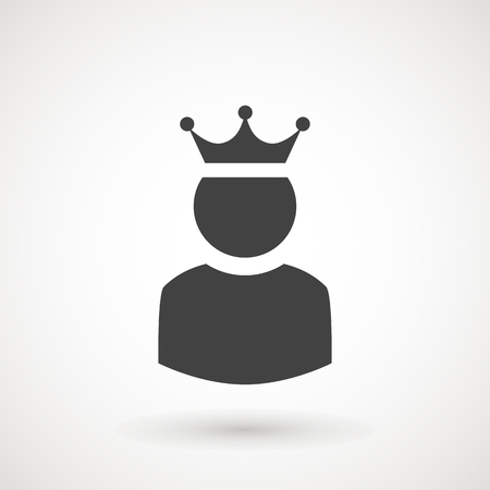 King User Icon Logo Design Element. Admin icon. Administrator. Crowned king sign. Manager symbol. Power user icon. Ceo. 矢量图像
