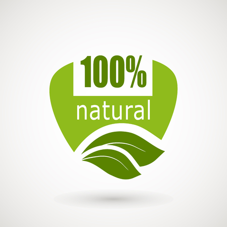 100 Natural Stamp Illustration., premium quality, locally grown, healthy food natural products, farm fresh stickers. Vector menu organic labels, food products packaging bio emblems.