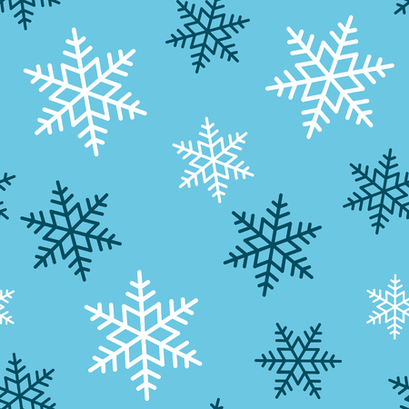 Snowflake seamless pattern. Snow on blue background. Abstract wallpaper, wrapping decoration. Symbol winter, Merry Christmas holiday, Happy New Year celebration Vector illustration