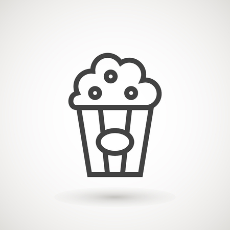 Popcorn line icon. Single high quality symbol of fast food for web design or mobile app. Thin line sign of popcorn for design logo, visit card, etc. Outline pictogram