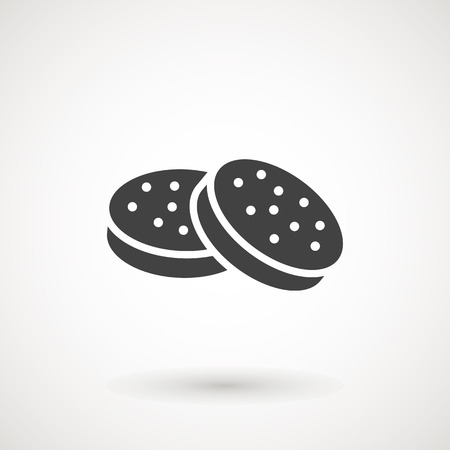Cookie Biscuit Flat Icon On White Background