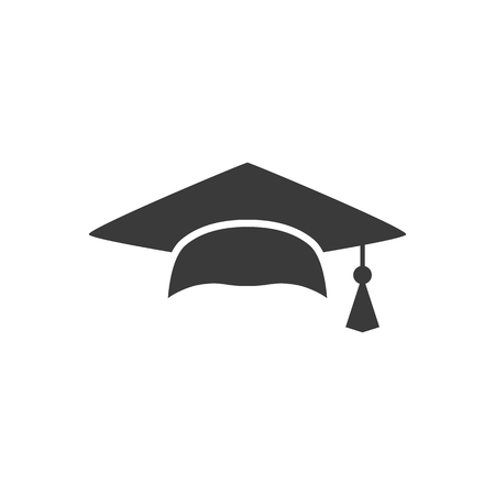 Mortar Board or Graduation Cap. Educator graduation icon, Education congratulations vector template , On white background. Logo.