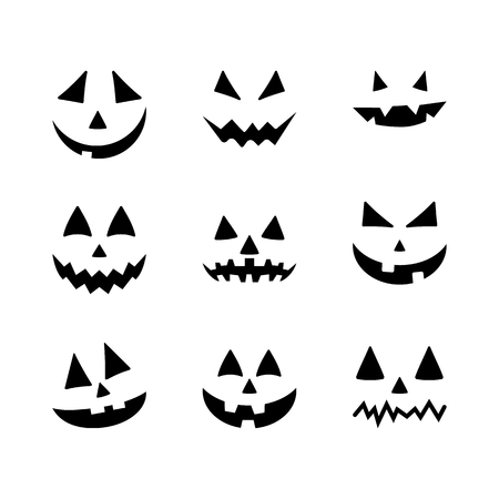 Halloween pumpkin faces icons set. Scary faces isolated on white background. Template for Halloween greeting card poster, brochure or flyer. Vector illustration Vektorgrafik