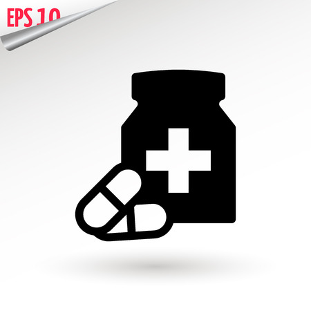 Medicine bottle and pills. Black and white icon. Vector illustration Illustration