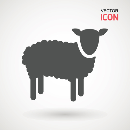 Sheep Icon. Silhouette of sheep on a light background.