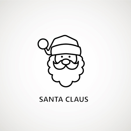 santa claus face beard moustache happy xmas christmas new year outline thin line vector icon black on white background Illustration