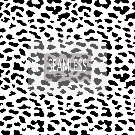 Leopard seamless pattern. White and black. Animal print. Vector background Çizim
