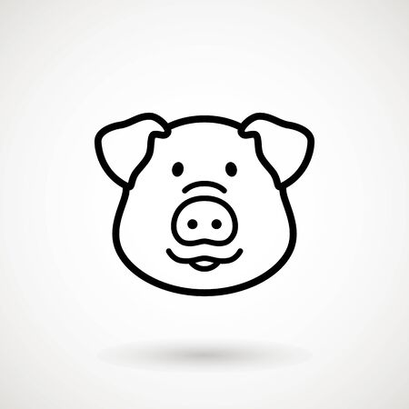 Pig line icon. Piglet face with smile in outline style. Icon of Cartoon pig head with smile. Chinese New Year 2019. Zodiac. Chinese traditional Design, decoration Vector illustration Stock Illustratie