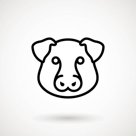 Pig line icon. Piglet face in outline style. Icon of Cartoon pig head. Chinese New Year 2019. Zodiac. Chinese traditional Design, decoration Vector illustration