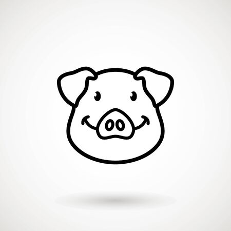 Pig line icon. Piglet face with smile in outline style. Icon of Cartoon pig head with smile. Chinese New Year 2019. Zodiac. Chinese traditional Design, decoration Vector illustration Stockfoto - 129228238