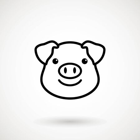 Pig line icon.Piglet face with smile in outline style. Icon of Cartoon pig head with smile. Chinese New Year 2019. Zodiac. Chinese traditional Design, decoration Vector illustration