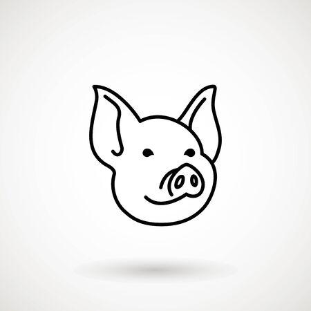 Icône de ligne de cochon. Visage de porcelet icône dans le style de contour. Icône de tête de cochon de dessin animé. Nouvel An chinois 2019. Zodiaque. Design traditionnel chinois, décoration Illustration vectorielle. Vecteurs