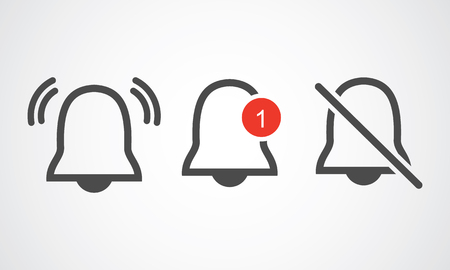 Notification line icon vector, material design, Social Media element, User Interface sign, EPS, UI, Image, Illustration. New message. Bell line icons with the different status. - Vector