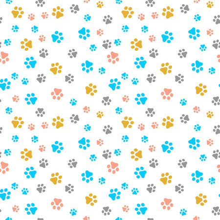 Dog Paw seamless pattern vector footprint kitten puppy tile colorful background repeat wallpaper cartoon isolated illustration white - Vector Vector Illustration