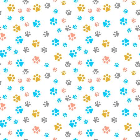 Hund Pfote nahtlose Muster Vektor Fußabdruck Kätzchen Welpen Fliese bunten Hintergrund wiederholen Tapete Cartoon isoliert Abbildung weiß - Vector - Vektorgrafik