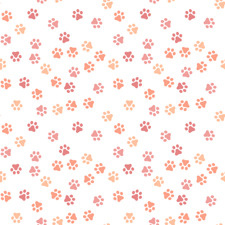 Dog Paw seamless pattern vector footprint kitten puppy tile coral color background repeat wallpaper cartoon isolated illustration white - Vector illustration