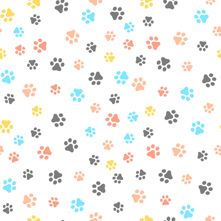 Dog Paw seamless pattern vector footprint kitten puppy tile colorful background repeat wallpaper cartoon isolated illustration white - Vector Illustration