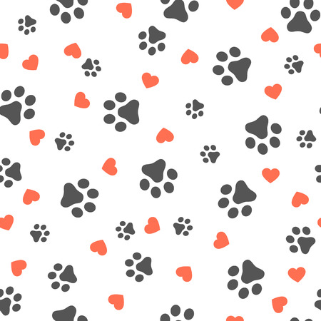 Dog Paw seamless pattern with hearts vector footprint kitten puppy heart tile background repeat wallpaper cartoon isolated illustration white - Vector illustration Illustration