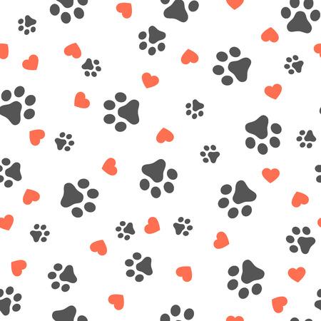 Patte de chien modèle sans couture avec coeurs vecteur empreinte chaton chiot coeur tuile fond répéter papier peint dessin animé isolé illustration blanc - illustration vectorielle