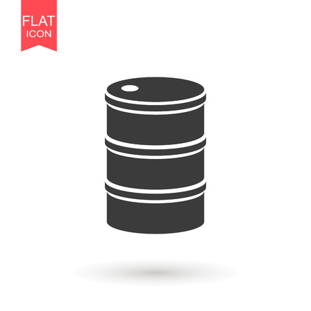 Oil drum container barrel with sign flat icon for apps and websites Banque d'images - 124768160