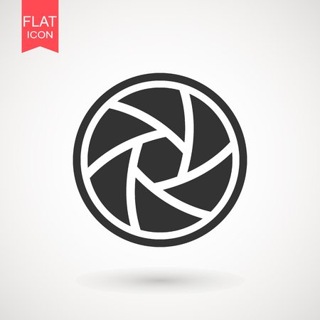 Kameraobjektiv Symbol flach. Symbol des Kameraobjektivsymbols. Verschlusssymbol Vektorgrafik