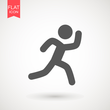 Running Man vector icon. Runner stick figure icon. Vector illustration. Illustration style is flat iconic black symbol on a white background.