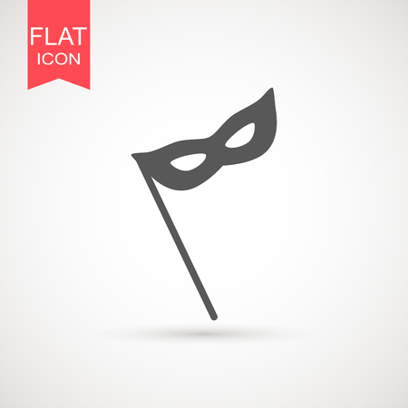 Carnival mask icon black silhouette isolated on white background. Mask with feathers pictogram. Vector illustration flat design Ilustrace