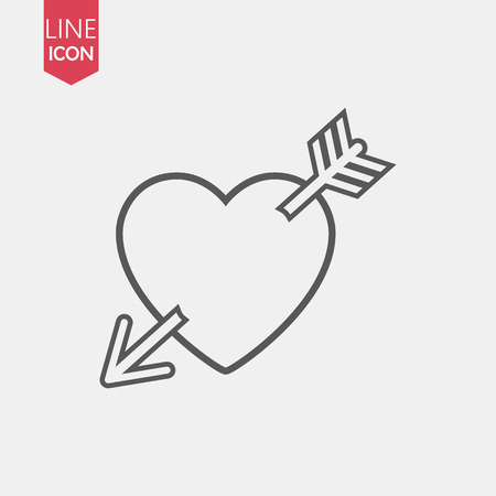 Heart with arrows icon isolated on white background. Heart with arrow vector logo. Flat design style. Modern vector pictogram for web graphics - stock vector